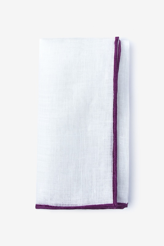 Deep Purple Edged Linen Pocket Square Photo (0)