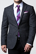 Deep Purple Edged Linen Pocket Square Photo (1)