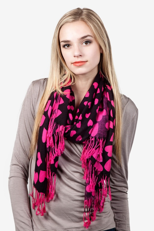Hearts Fuchsia Pashmina by Scarves.com