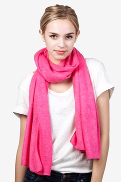 Heathered Solid Fuchsia Knit Scarf