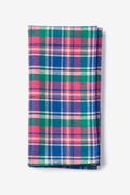 Fuchsia Cotton Barrette Plaid Pocket Square