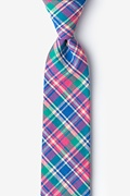 Fuchsia Cotton Barrette Plaid Skinny Tie