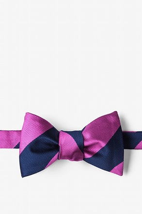 _Fuchsia & Navy Stripe Self-Tie Bow Tie_