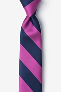 Fuchsia Microfiber Fuchsia & Navy Stripe Tie For Boys