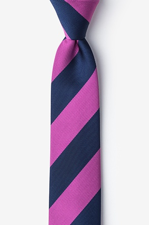Fuchsia And Navy Stripe Skinny Tie