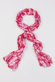 Fuchsia Polyester Candy Hearts Scarf
