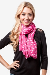Fuchsia Polyester Love Is In the Air Scarf