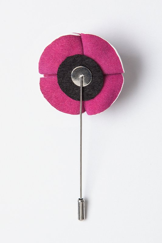 Fuchsia Piped Flower Lapel Pin Photo (1)