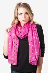 Fuchsia Viscose Golden Hearts Scarf