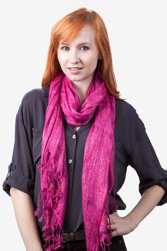 Rainbow Sparkle Fuchsia Scarf by Scarves.com
