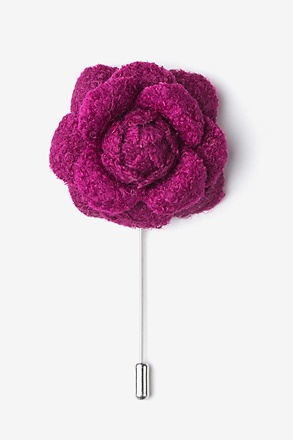 _Fuchsia Wool Felt Rose Lapel Pin_