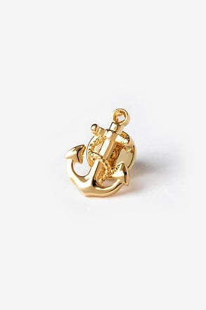 _Anchor With Rope Gold Lapel Pin_