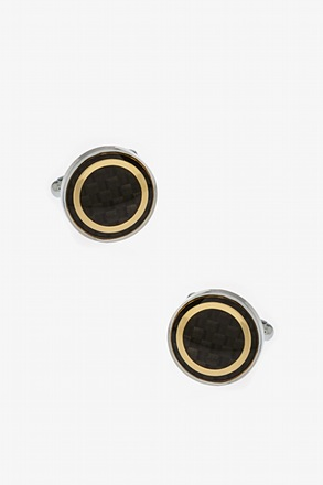 _Futuristic Circle Gold Cufflinks_