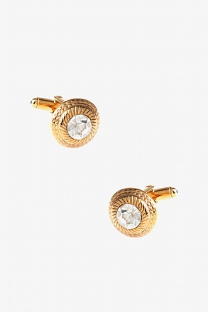 Gold Round Bling Cufflinks