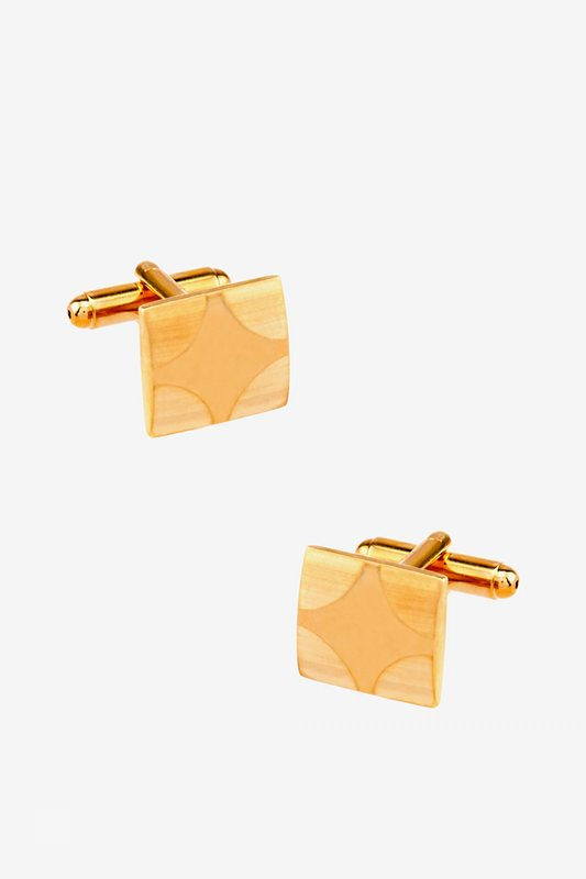 Matte Rounded Edges Gold Cufflinks Photo (0)