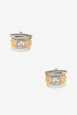 Ornated Square Rhinestone Cufflinks