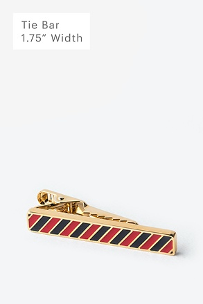 Red & Blue Stripe Gold Tie Bar