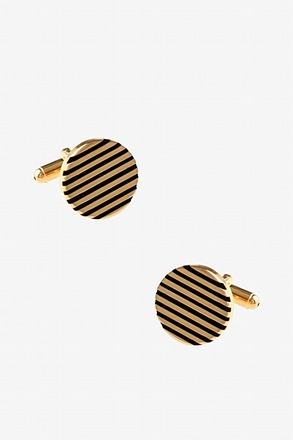Round Solid Striped Gold Cufflinks