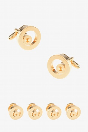 Solid Encircled Round Gold Cufflink & Stud Set