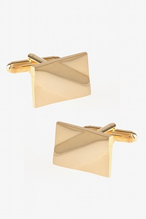 Solid Slanted Rectangle Gold Cufflinks