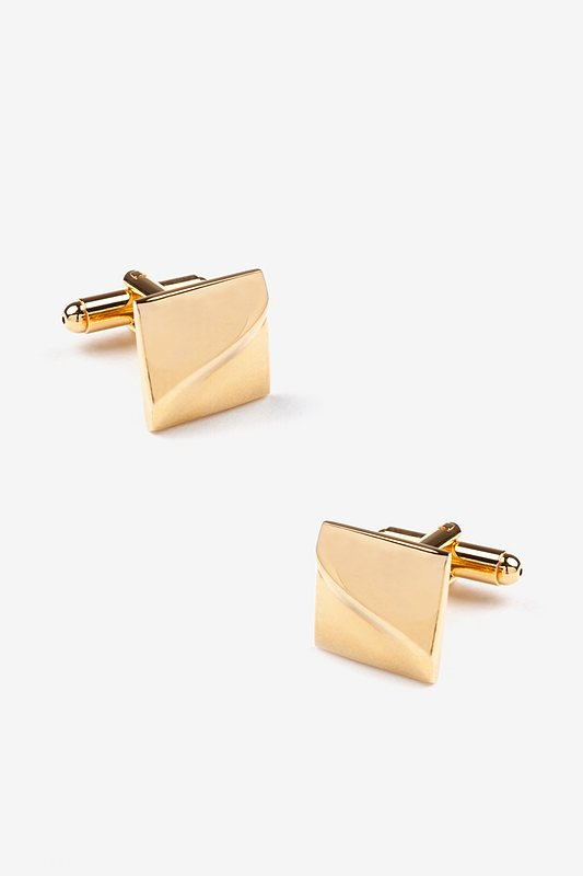 Solid Slanted Square Gold Cufflinks Photo (0)