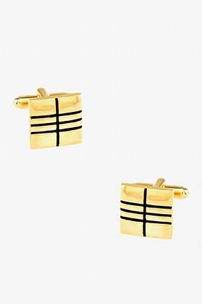 Square Crossing Gold Cufflinks