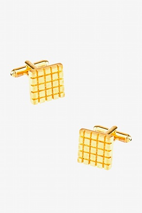 Square Grid Gold Cufflinks