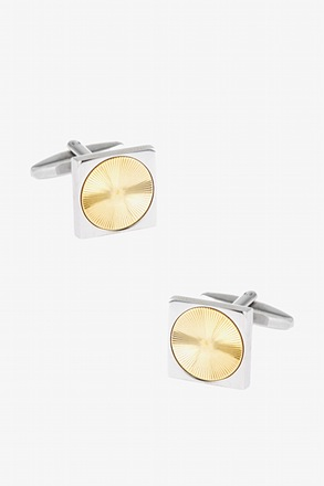 Vinyl Square Gold Cufflinks