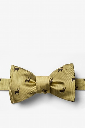 "_""Noses Are Red,Violets Are Blue"" Gold Self-Tie Bow Tie_"