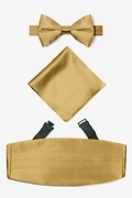 Gold Silk Bright Gold Pretied Bow Tie Cummerbund Set