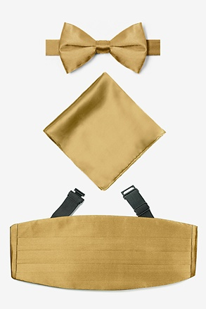 _Bright Gold Pretied Bow Tie Cummerbund Set_
