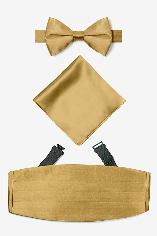 Bright Gold Pretied Bow Tie Cummerbund Set Photo (0)