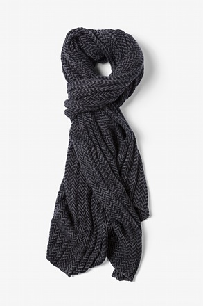 Gray Seattle Striped Knit Scarf