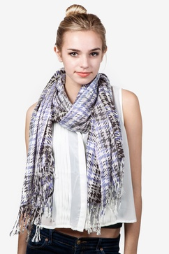 Plaid Gray Pashmina