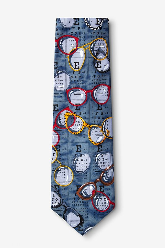 Optometrist Gray-blue Extra Long Tie Photo (1)