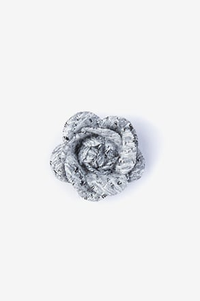 _Boucle Tweed Flower Gray Lapel Pin_