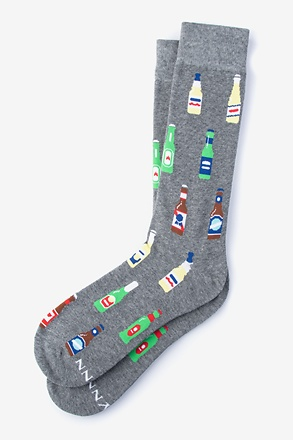 Beer Bottle Gray Sock