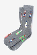 Gray Carded Cotton Beer Me Women's Sock