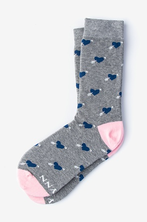 _Arrow Heart Gray Women's Sock_