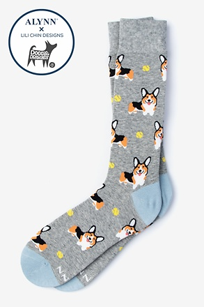 _Corgi Dog Gray Sock_