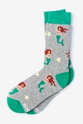 Gray Carded Cotton Mermaids Are Real Women's Sock