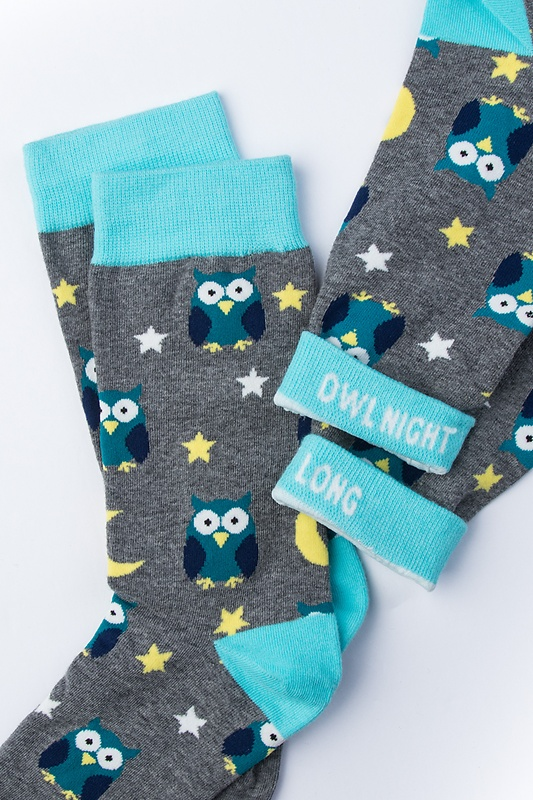 Owl Night Long Gray Women's Sock Photo (1)