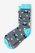 Gray Carded Cotton Owl Night Long Women's Sock