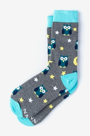 _Owl Night Long Gray Women's Sock_