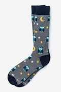 Gray Carded Cotton Owl Sock