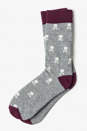 _Skulls & Crossbones Gray Sock_