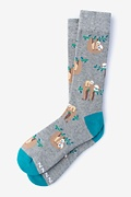 Gray Carded Cotton Sloth Sock
