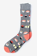 Gray Carded Cotton Sushi Addict Sock