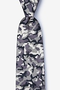 Gray Cotton Combat Extra Long Tie