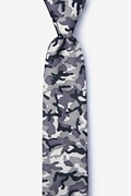 Gray Cotton Combat Skinny Tie